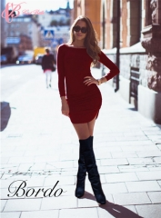 Classic Long Sleeve Open Side African Style Sexy Slim Short Bandage Cestbella T-Shirt Dress red us 8