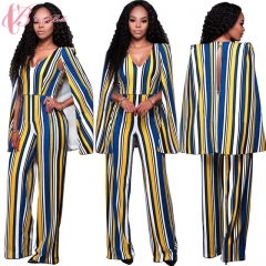 Ladies Office Wear Elegant Vintage V-Neck Color Blocking Slip  Cestbella Jumpsuit yellow us 10