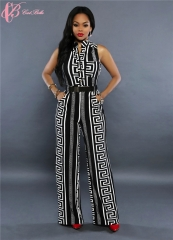 2017 Cestbella Kenya Popular Fashion Narrow Waist Vintage Pattern Sleeveless Jumpsuit black us 10