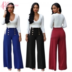 Hot Sale African Ladies a Set of Suits High Waist Wide Clothes Pants Chiffon Leisure Suits blue us 10