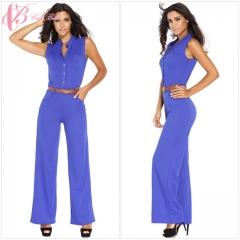 2017 Cestbella Women Fashion Sexy Sleeveless Slim New African Style Clubwear Wide Leg Jumpsuits blue us 12