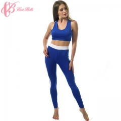 Sexy Women Yoga Shirt Slim Fitness Running Tight Suit Pad Breathable Elastic Cestbella Sportswear blue us 8