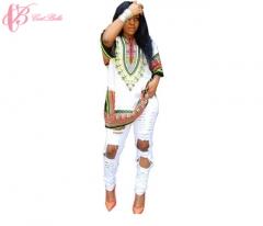 Cestbella Traditional African Vintage National Floral Print DashikiShort DressesForWomen white us 10