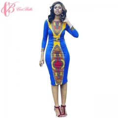2017 Free Prom Dresses African Style Classic Printed Elastic Sexy Slim Cestbella Dress blue us 10