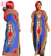 2017 Cestbella Africant Style Beautiful Imagination Elegant Vintage PrintedLoose GownSummer Dress blue average
