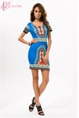 Print Dress- Summer New Kenya National Dress Code Printing Large Sexy Waist Silk Dress blue us 10