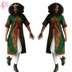 2017 Green Dashiki Dress For Kenya Women Fabric Wax Prints Sexy  Loose Cestbella Short Sleeve green us 10