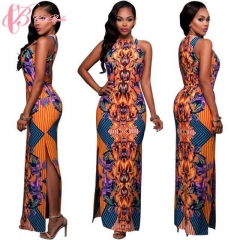 2017 Sexy Sleeveless African Style Dress  Printed Maxi Cestbella Lady Dress From Garment Factory orange us 10
