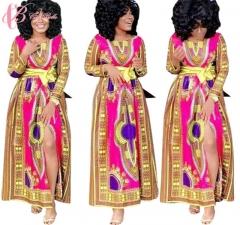 New Autumn High Waist African  Kenya Style Long Dress Cestbella National Design Beach  Fall Dress red us 10