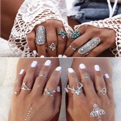 Jewellery 9Pcs Bohemian Ring Set Vintage Steampunk Cross Flowers Rings Women Silver Cestbella royal blue normal size