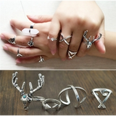 9pcs or 4pcs Vintage Silver or Blue Rings Lucky Stackable Midi Rings Set of Rings Women Cestbella pure white normal size