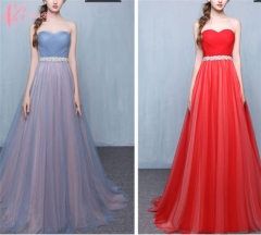 2017 Cestbella High Quality Hot Sale Off-Shoulder Fitting Yarn Dyed Shenzhen Evening Dress Red us  4