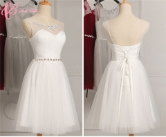 Cestbella Jubilant Endearing Colorful Short Off-Shoulder Knee-Length Bridesmaid Dress  White us  4