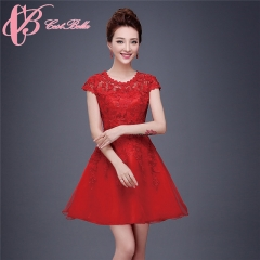 Cestbella Elegant Women Short Sleeve Fashion Party Cocktail Red Evening Dress       Red us  4