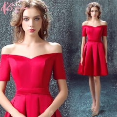 Cestbella Latest Pleat Red Bridemaid Dresses Off Shoulder Short Gown for Woman Evening Party Dress Red us  4