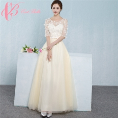 2017 Cestbella  Beige Elegant Chinese Bohemian Style Mother Of The Bride Dress With Sleeves Champagne us 4