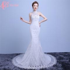 Cestbella Plain High Neck Hot Sale Mermaid Malaysia Luxury Wedding Dress 2017 White us 4