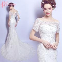 Cestbella vModern Puffy Tulle Sexy Mermaid Cap Sleeve Soft Net Wedding Dress White us 4