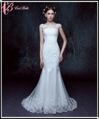 Cestbella Custom Made Lace Crystal Beaded Bridal Mermaid Wedding Dress Pattern 2017 White us 4
