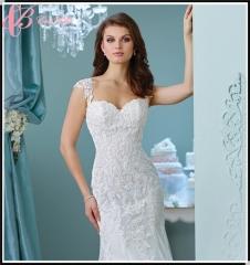 Cestbella New Spaghetti Trap Floor-Length Mermaid Stock High Quality Fully Beaded Lace Wedding Dress White us 4
