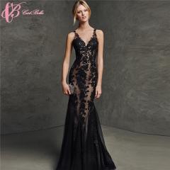 Cestbella Backless Sexy Alibaba Lace Black Mermaid Long Guangzhou Evening Dress Black us 4