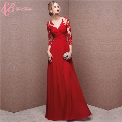 2017 Cestbella Women Long Sleeve A Line Appliqued Red Slim Evening Dress Red us 4