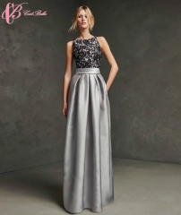 Cestbella High Quality Fashion Sexy Lace Applique Chiffon Vestidos De Fiesta Evening Dinner Dress Grey us 4
