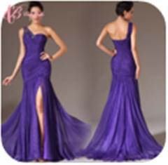 Cestbella Sexy Purple Pleat Slit Mermaid Rhinestone Beaded Club Dresses Women Lady Summer Purple us 4