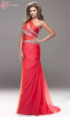 Cestbella Suzhou Women  Sexy One Shoulder Plus Size Mermaid Evening Dress Crystal Red us 4