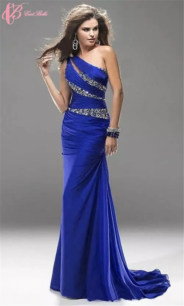 8b41face6fab9 Cestbella Suzhou Women Purple Yellow Red Blue Sexy One Shoulder Plus Size  Mermaid Evening Dress Crystal