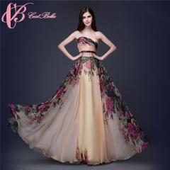 Cestbella Evening Dress 2017 Cocktail Party Maxi Dress With High Waist Women Wear Apricot us 4