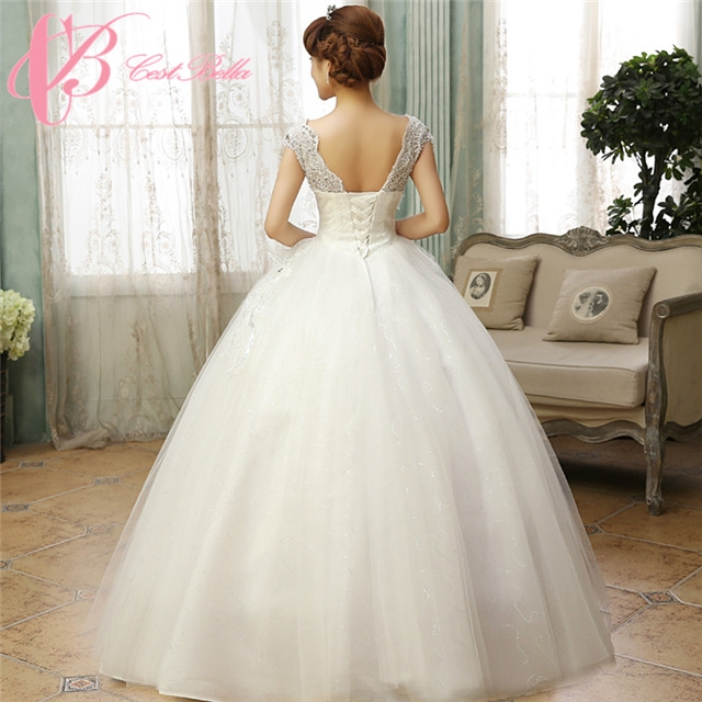 Cestbella Cap Sleeve Ball Gown Princess Lace Open Back