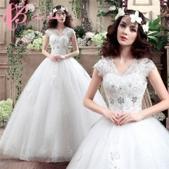 Cestbella Lace Cap Sleeve Fashionable Ball Gown Princess Wedding Dress White us 4