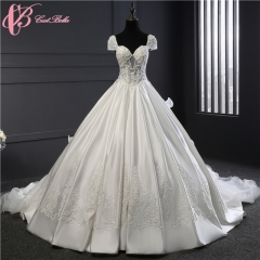 Cestbella Real Image 2017 New Pearls Lace Empire Beaded  Flowers Lace Applique Luxury Wedding Dress White us 4