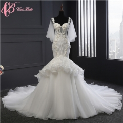 Cestbella Luxury Chic Lace Appliqued Hand Sewn Beads Mermaid Wedding Dress Long Train China White us 4