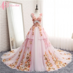 Cestbella 2017 Chic Empire Cathedral Gown Long Train Embroidery Luxury Crystals Floral Bridal Gown Pink us 4