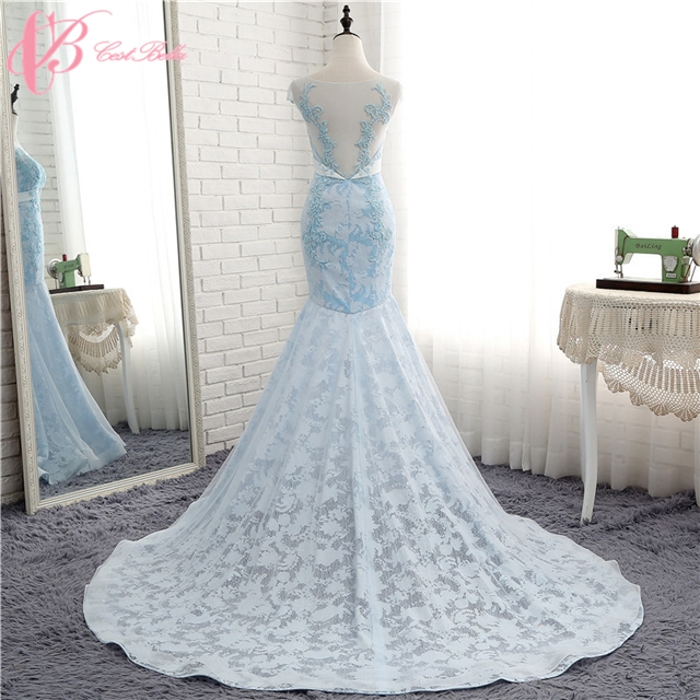 Kilimall: Luxury Sparkling Beaded Lace Light Blue Mermaid Wedding ...
