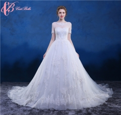 Cestbella High Quality Crystal Beaded Short Sleeve Wedding Dress Bridal Gown CathedralTrain White us 4