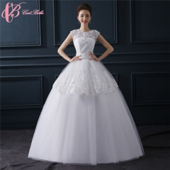 Cestbella Elegant Cap Sleeveless Slim Fit Cheap Ball Gown Princess Wedding Dress White us 4