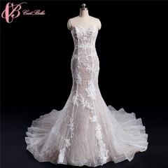 Cestbella Vintage Lace Applique Mermaid Wedding Dress 2017 Off Shoulder Long Train White us 4