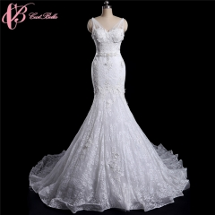 Cestbella Customized Top Quality Embroidery Lace Mermaid Wedding Gown White us 4