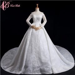 Cestbella luxury Plus Size Long Sleeve off shoulder Lace wedding gown White us 4