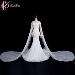 Cestbella Luxury Long Train Off Shoulder Sweetheart Mermaid Fishtail Wedding Bridal Gown white us 4