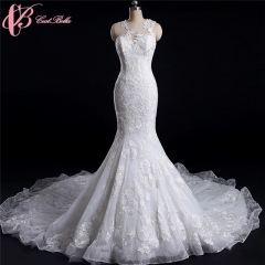 Cestbella Latest Design Elegant French Lace Beaded Sexy Mermaid Wedding Dress Bridal Gown 2017 white us 4