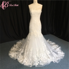 Cestbella Wholesale Real Photo V Neck Off Shoulder Lace Mermaid Wedding Dresses White us 4