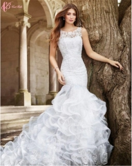 Cestbella Shining African Princess Long Train Sleeveless Wedding Dress Pure White us 4