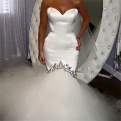 Cestbella 2017Hot Sale Off-shoulder Shining High Quality Wedding Dress Pure White us 4