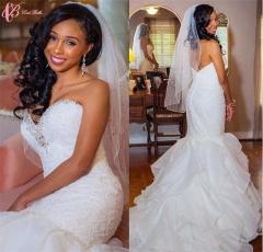 Cestbella Sparking lace Beaded Luxury Mermaid Off-shoulder Shining Wedding Dress Pure White us 4