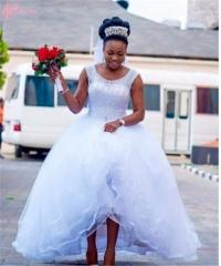 Cestbella Pure White Sleeveless Wedding Dress High-Waisted Princess Wedding Dress Pure White us 4