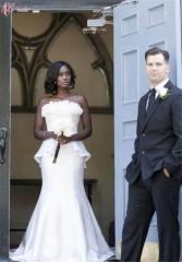 Cestbellla Luxury Sexy Off-shoulder Wedding Dress Floor Length Mermaid Pure White us 4